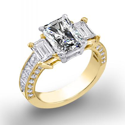 1.7ct. natural diamond radiant cut natural emerald 3-stone channel pave set diamond engagement ring  18k yellow gold gia