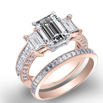 3.44ct. natural diamond emerald cut natural emerald 3-stone channel pave set diamond engagement ring  14k rose gold gia