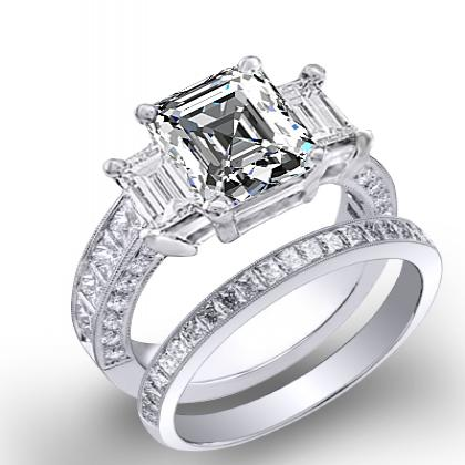 1.7ct. natural diamond asscher cut natural emerald 3-stone channel pave set diamond engagement ring  18k white gold gia