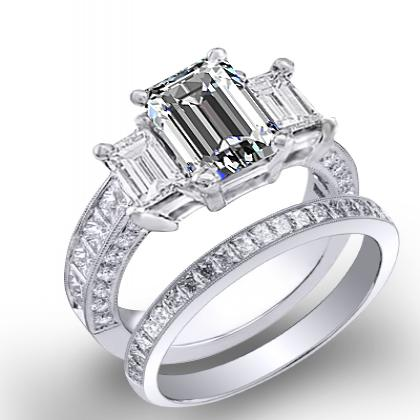 4.44ct. natural diamond emerald cut natural emerald 3-stone channel pave set diamond engagement ring  platinum gia