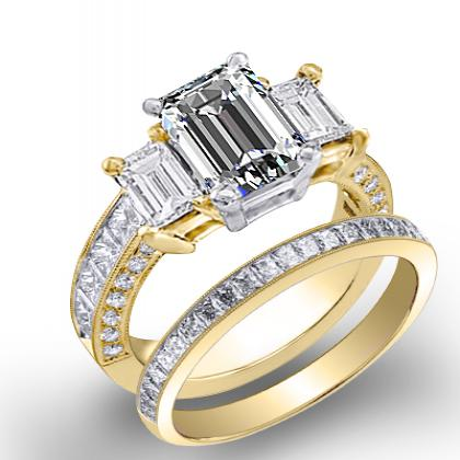 4.44ct. natural diamond emerald cut natural emerald 3-stone channel pave set diamond engagement ring  18k yellow gold gia