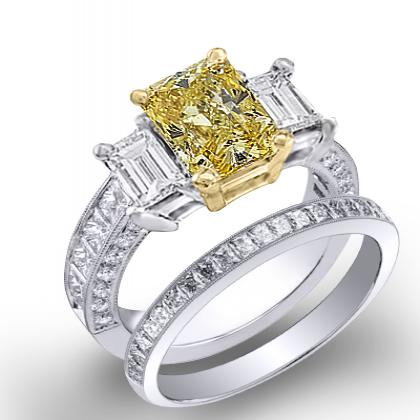 2.64ct. yellow diamond radiant cut natural emerald 3-stone channel pave set diamond engagement ring  18k white gold gia