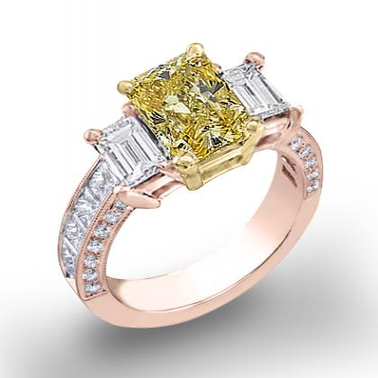 2.5ct. yellow diamond radiant cut natural emerald 3-stone channel pave set diamond engagement ring  14k rose gold gia