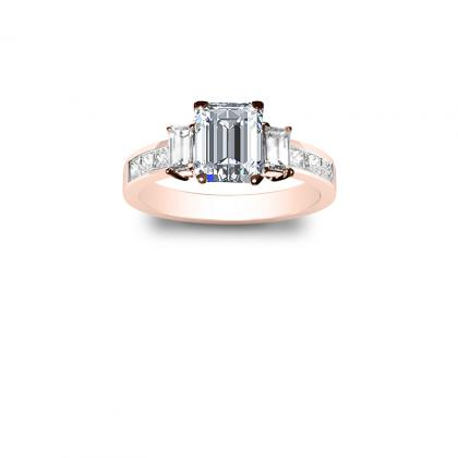 3.1ct. natural diamond emerald cut natural 3-stone channel set diamond engagement ring  14k rose gold gia