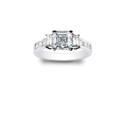 3.1ct. natural diamond asscher cut natural 3-stone channel set diamond engagement ring  14k white gold gia