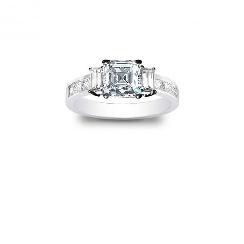 Natural 3-Stone Channel Set Diamond Engagement Ring