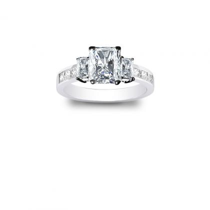 2.1ct. natural diamond radiant cut natural 3-stone channel set diamond engagement ring  platinum gia