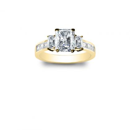 2.1ct. natural diamond radiant cut natural 3-stone channel set diamond engagement ring  18k yellow gold gia