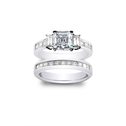 2.485ct. natural diamond asscher cut natural 3-stone channel set diamond engagement ring  18k white gold gia