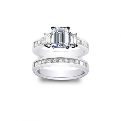 4.485ct. natural diamond emerald cut natural 3-stone channel set diamond engagement ring  platinum gia