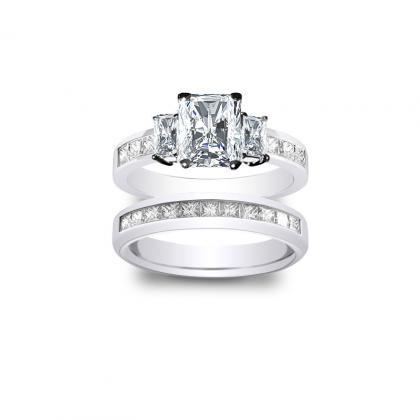 3.285ct. natural diamond radiant cut natural 3-stone channel set diamond engagement ring  platinum gia