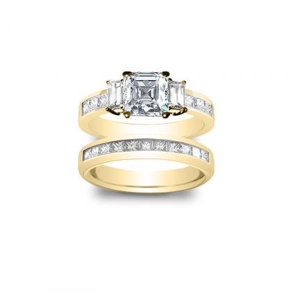 2.1ct. natural diamond asscher cut natural 3-stone channel set diamond engagement ring  14k yellow gold gia