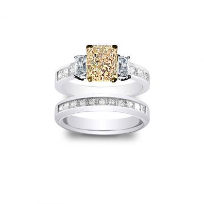 3.485ct. yellow diamond radiant cut natural 3-stone channel set diamond engagement ring  platinum gia