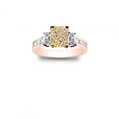 3.1ct. yellow diamond radiant cut natural 3-stone channel set diamond engagement ring  18k rose gold gia