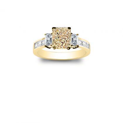 4.1ct. yellow diamond radiant cut natural 3-stone channel set diamond engagement ring  14k yellow gold gia