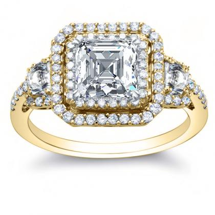220ct Natural Diamond Asscher Cut Double Halo Vintage Style Engagement Rings 14k Yellow Gold Gia