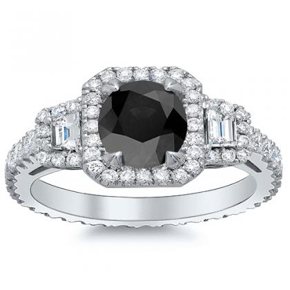 Three Stone Black Diamond Engagement Rings
