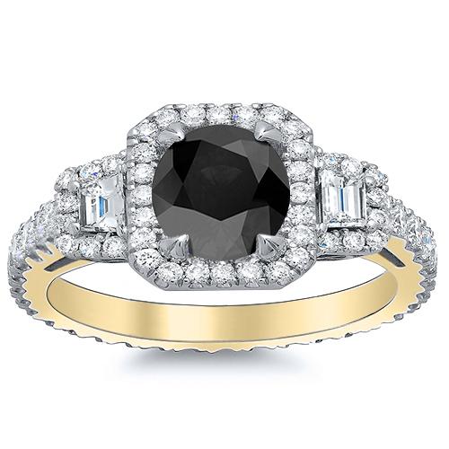 Halo Pave Trapezoid Side Stones Diamond Engagement Ring
