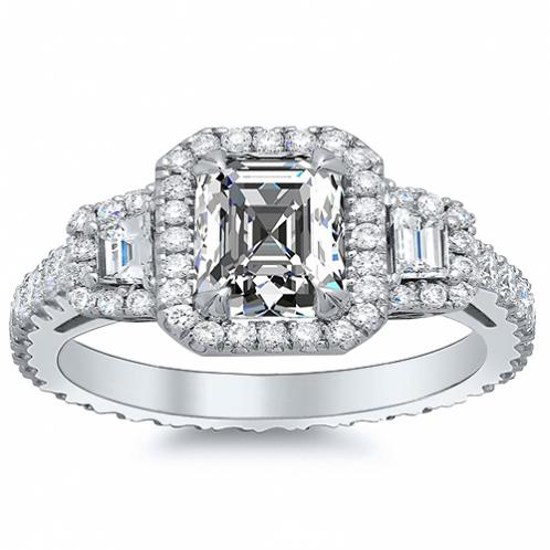 3 Stone Halo Pave with Trapezoid Side Stones Diamond Engagement Ring
