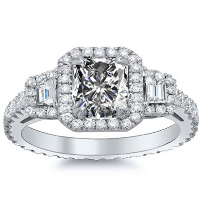 Princess cut Three Stone Engagement Rings