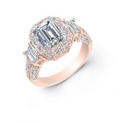 2.5ct. natural diamond emerald cut natural emerald 3-stone art deco diamond engagement ring  18k rose gold gia