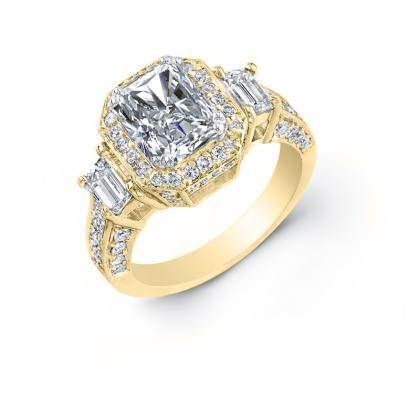 4.8ct. natural diamond radiant cut natural emerald 3-stone art deco diamond engagement ring  18k yellow gold gia