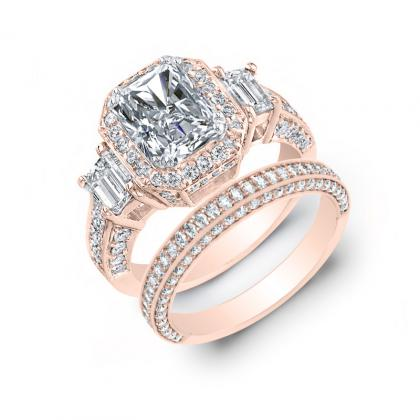 3.75ct. natural diamond radiant cut natural emerald 3-stone art deco diamond engagement ring  14k rose gold gia