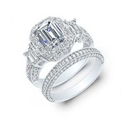 3.45ct. natural diamond emerald cut natural emerald 3-stone art deco diamond engagement ring  platinum gia