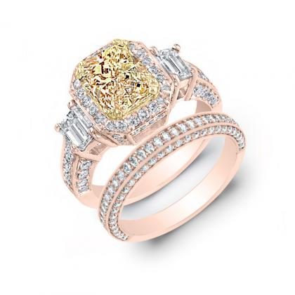 4.75ct. yellow diamond radiant cut natural emerald 3-stone art deco diamond engagement ring  14k rose gold gia