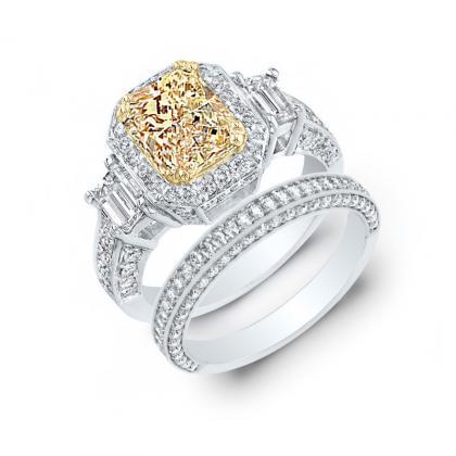 2.95ct. yellow diamond radiant cut natural emerald 3-stone art deco diamond engagement ring  14k white gold gia