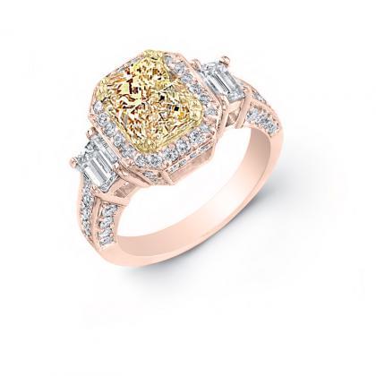 4ct. yellow diamond radiant cut natural emerald 3-stone art deco diamond engagement ring  18k rose gold gia