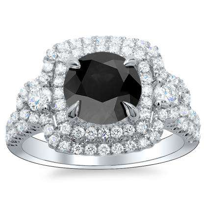 Round Cut Three Stone Black Diamond Engagement Rings