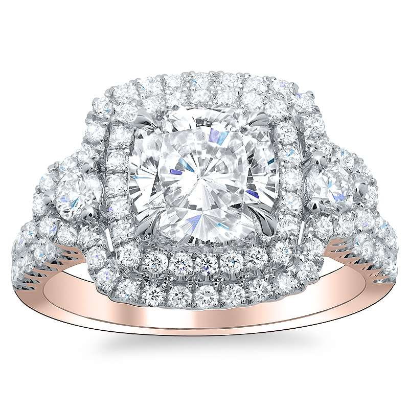 Natural Cushion Double Halo Diamond Engagement Ring