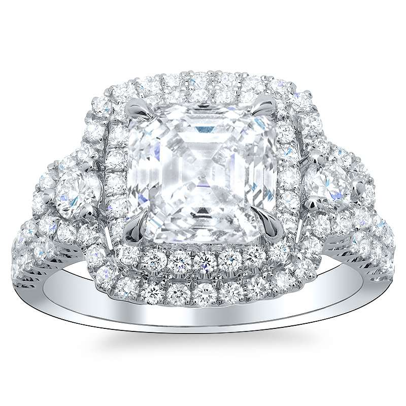 Natural Cushion Double Halo Diamond Engagement Ring