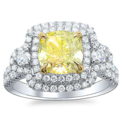 Hearts Yellow Diamond Engagement Rings