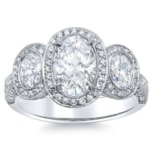 3-Stone Halo Oval cut Natural Diamond Engagement Ring