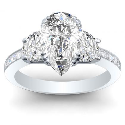 Trellis Pear cut Engagement Rings