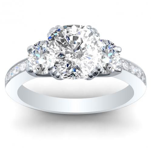 3-Stone Claw Prong Pave w/ Oval Sidestones Diamond Ring