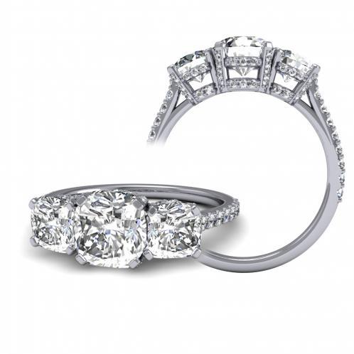 Three Stone U-Prong Side Details Diamond Engagement Ring