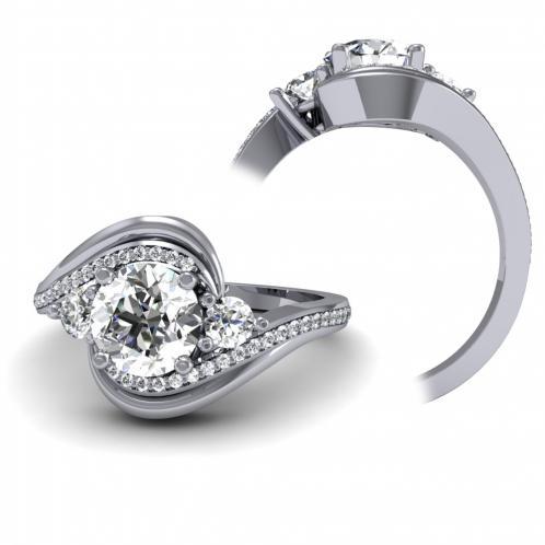 Swirl Three Stone Pave Diamond Engagement Ring