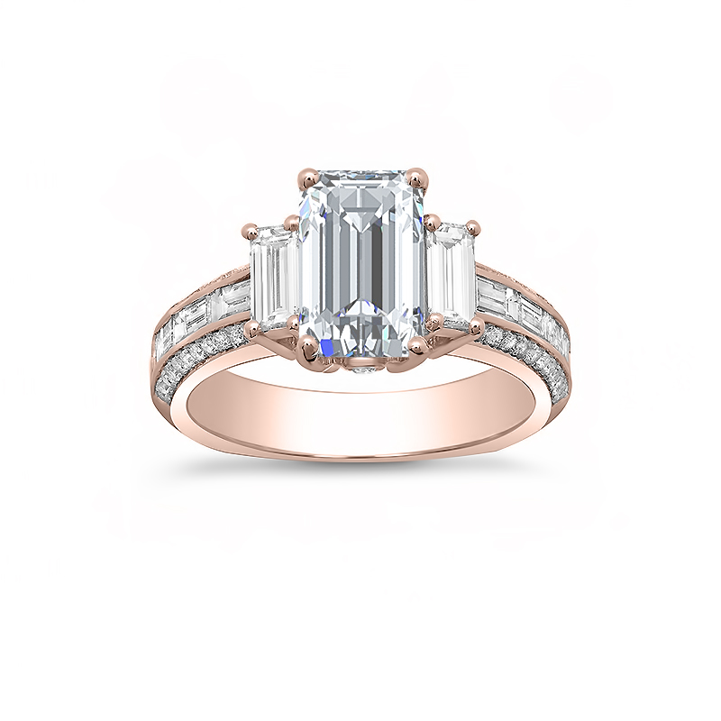 3 Stone Pave and Baguette Channel Set Engagement Ring