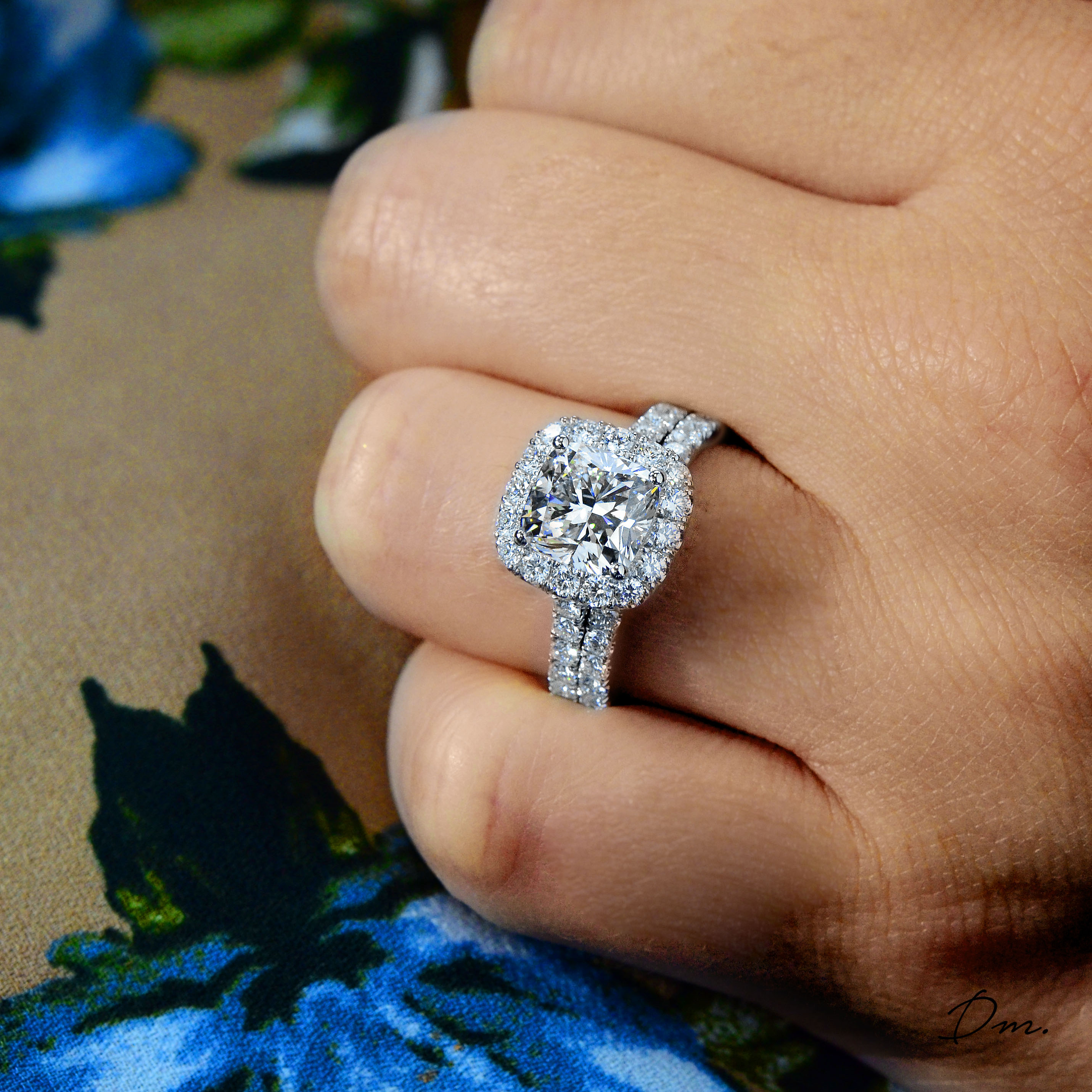 Natural Halo U-Prong Pave Diamond Engagement Ring