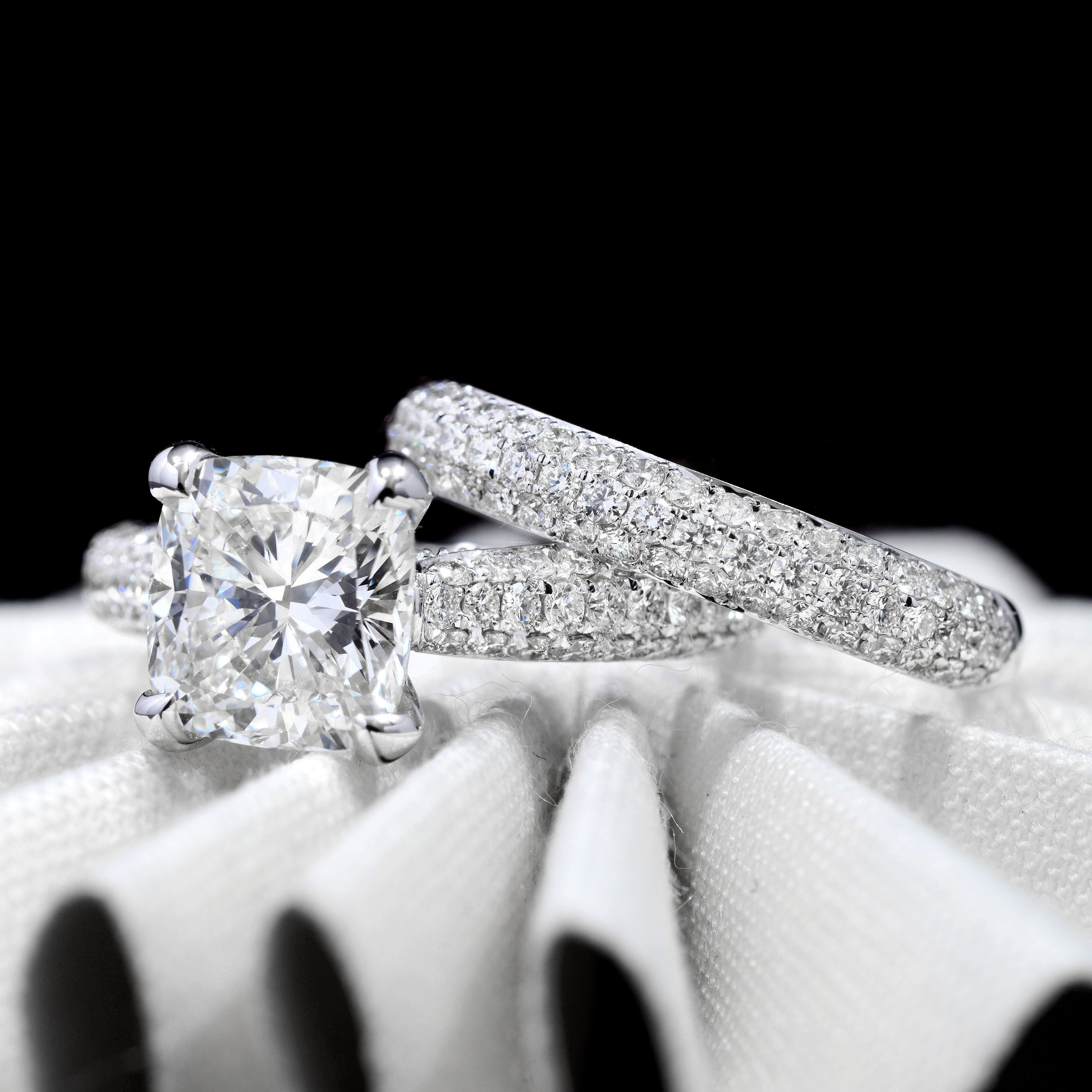 3 Row Micro Pave Natural Diamond Engagement Ring