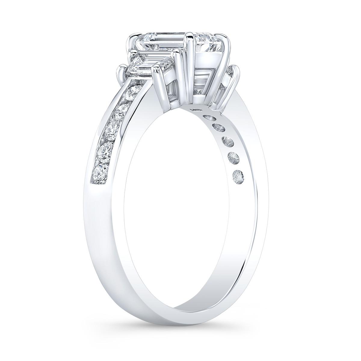 3-Stone Emerald Channel Set Diamond Ring