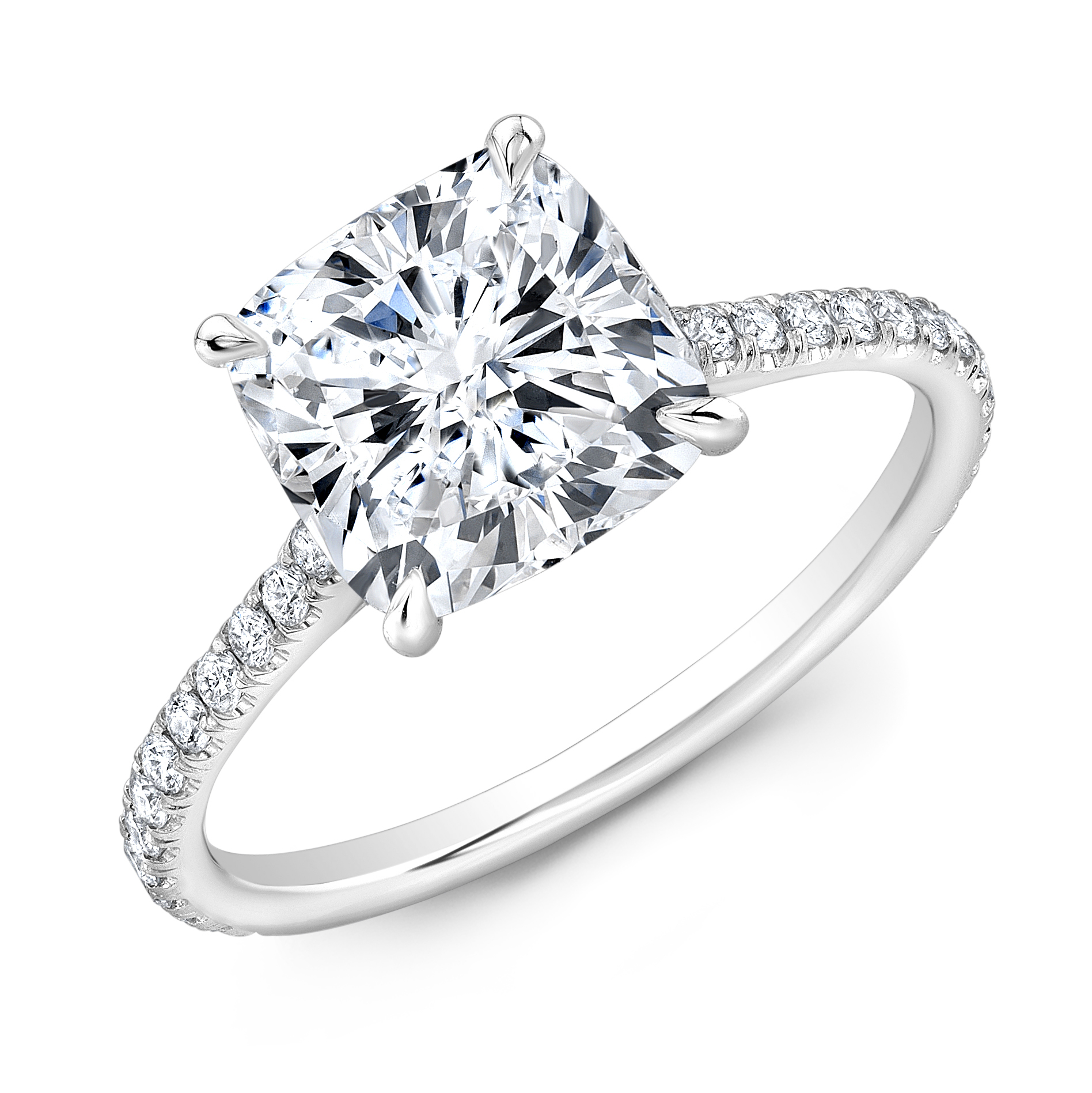 Natural U-Pave Setting Diamond Engagement Ring