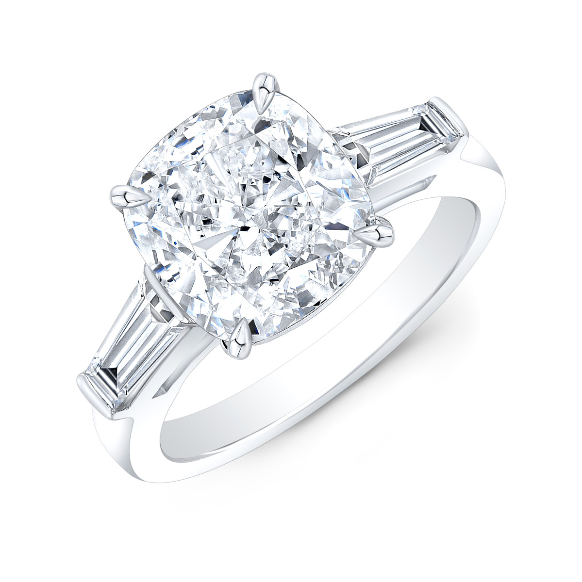 Three Stone Baguettes Diamond Engagement Ring