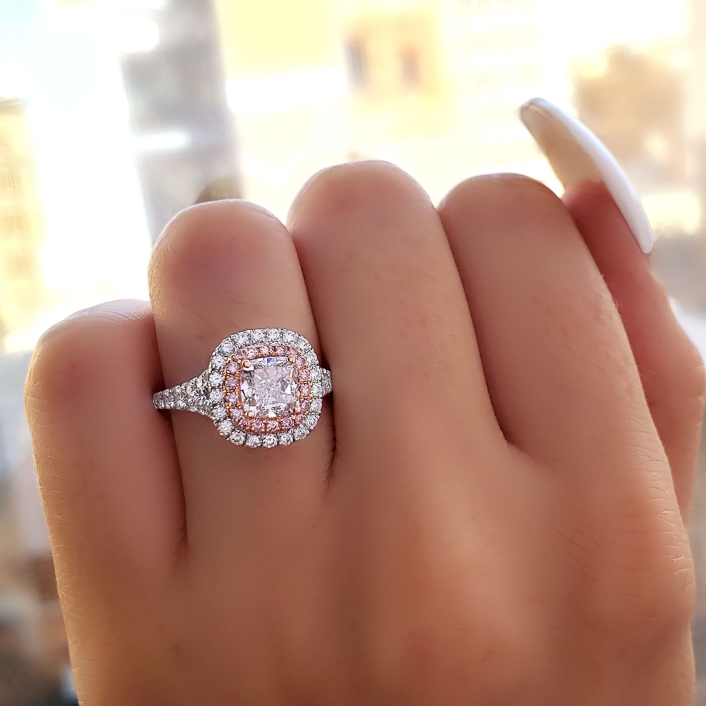 Double Halo Split Shank w/ Intense Pink Diamonds Engagement Ring