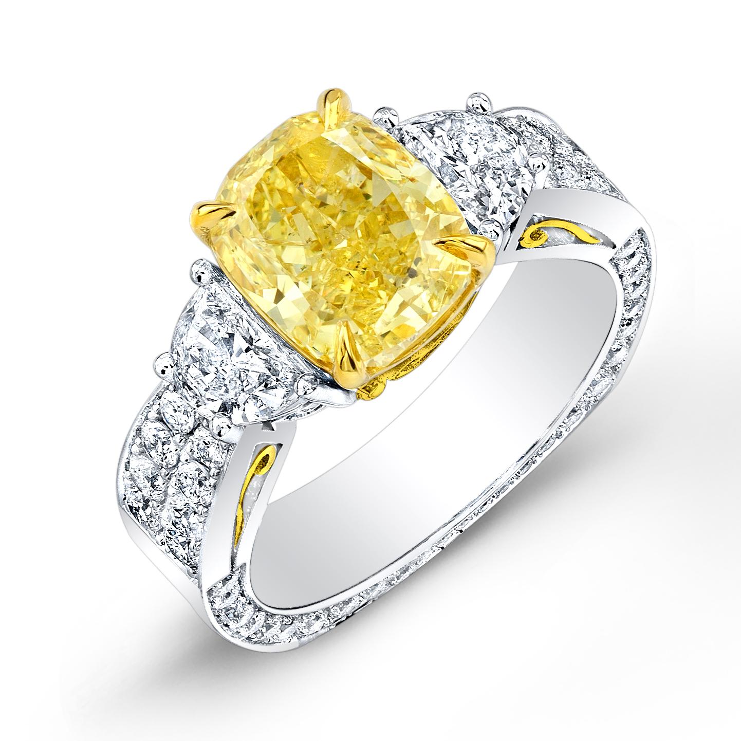 3 Stone Half Moon Pave Euro Shank Diamond Ring