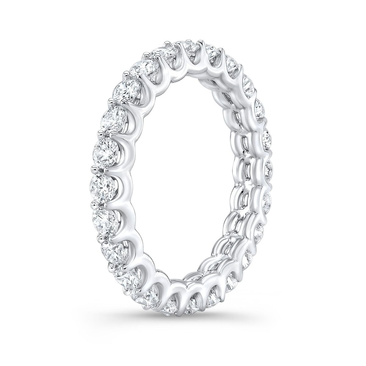Round Eternity Wedding Diamond Band U-Setting Modern Design in White Gold
