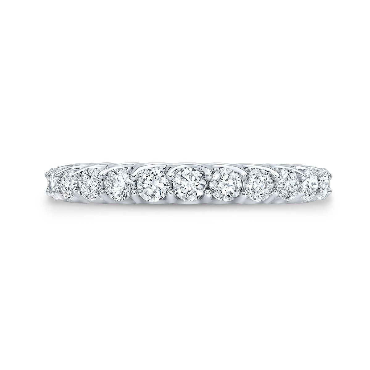 Round Eternity Ring In White Gold with Shared Prongs